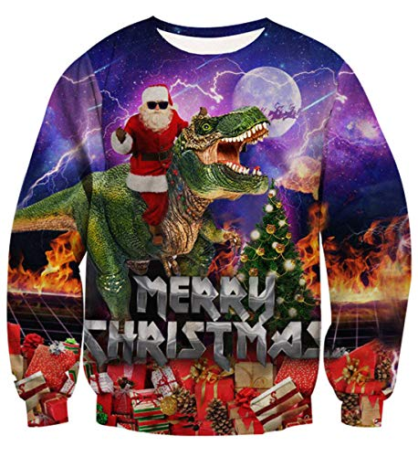 1d Halloween Party (Fanient Funny Christmas Sweater Dinosaur Print Ugly Christmas Sweatshirt for Men)