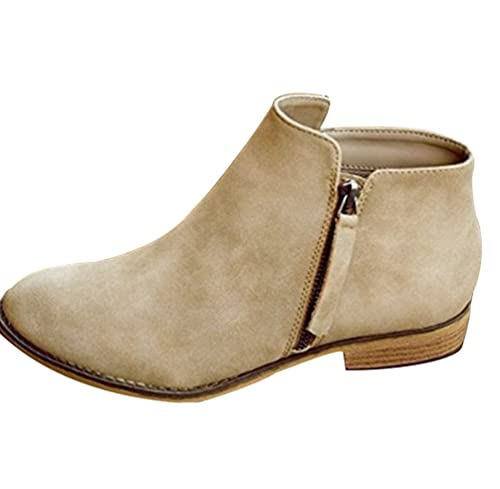 ZKOO Botas Zapatos de Mujer Bajo Tacón Planos Botines Cálido Forro Zapatos Otoño Invierno Casual Caqui: Amazon.es: Zapatos y complementos