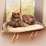 "K&H Pet Products Kitty Sill Deluxe with Bolster Tan Kitty Print 14"" x 24"""