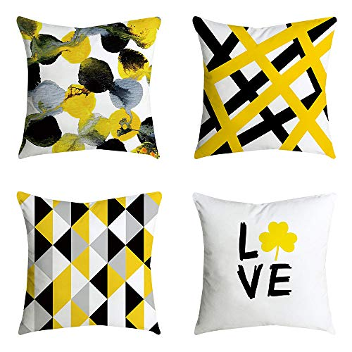 (Shmily Girl Decorative Throw Pillow Covers Set of 4, Home Decor Yellow Geometric Throw Pillowcases for Couch/Sofa/Bedroom/Living Room/Kitchen/Car Square Pillow Case 18 x18 inch (Yellow3))