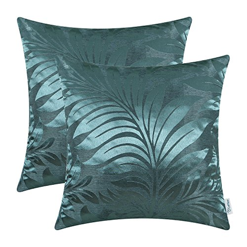 Pack of 2 CaliTime Throw Pillow Covers Cases for Couch Sofa Home Decor, Tropical Fern Leaf, 18 X 18 Inches, Teal