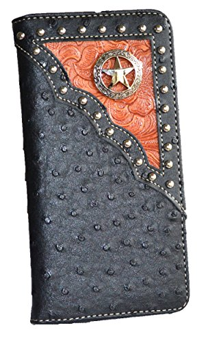 [western men ostrich print pu leather texas star concho long tall slim wallet (black)] (Concho Western Leather)