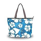 Hawaiian Hibiscus Flower Shoulder Bags Large Handle Ladies Handbag