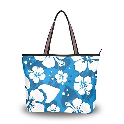 (Hawaiian Hibiscus Flower Shoulder Bags Large Handle Ladies)