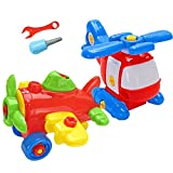 YIXIN Set of 2 Take-a-part Airplane Helicopter Adorable Disassembly Assembly Toys Removable and Detachable Matching Toys for Child Intelligence Development