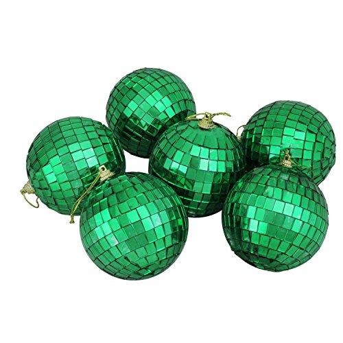 Northlight 6ct Jade Green Mirrored Glass Disco Ball Christmas Ornaments 3.25
