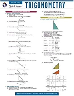chart of trigonometry: Amazon com trigonometry rea s quick access reference chart