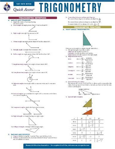 Trigonometry - REA's Quick Access Reference Chart (Quick Access Reference Charts)