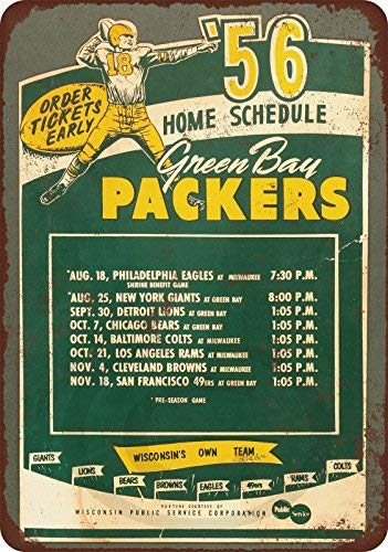 (HarrodxBOX 1956 Green Bay Packers Home Schedule Reproduction Metal Signs Funny Aluminum Sign for Garage Home Yard Fence Driveway 8 x 12)