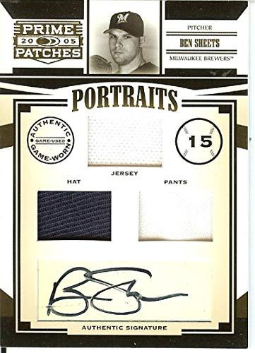 2005 Prime Patches Portraits Autograph Triple Swatch #12 Ben Sheets MEM Auto 85/133 Brewers from Prime Patches