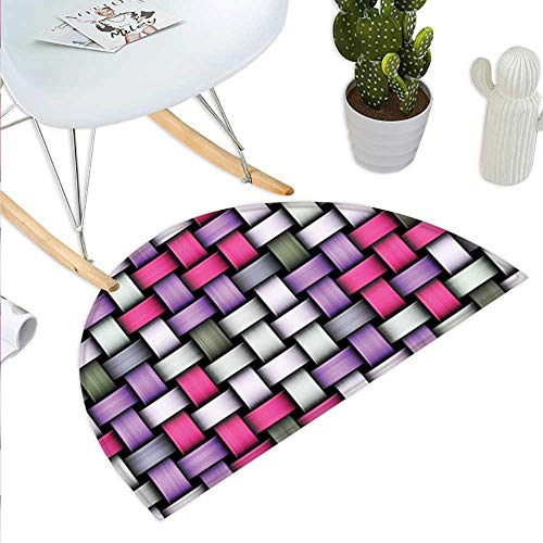 Anniutwo Abstract Half Round Door mat Outdoor Knot Pattern with Large Fractal Yarns Geometric Linked Bands Graphic Half Round Indoor Door mat Pink Purple Silver Grey ()