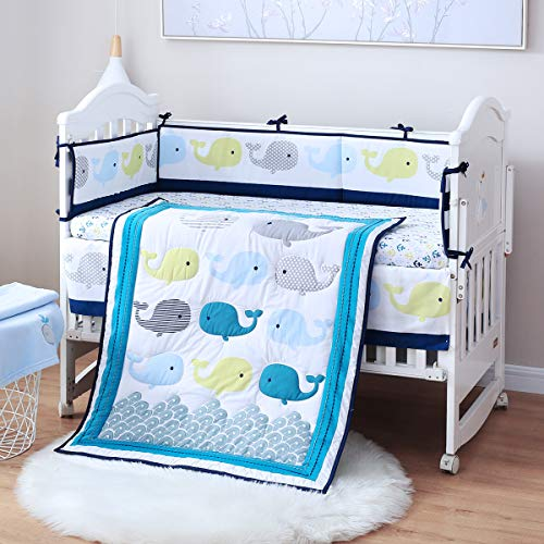 Spring Baby Crib Bedding Set 8 Piece, 100% Soft Organic Natural Cotton, Portable Standard Crib Bedding Set, Neutral Baby Bedding Set for Girl & Boy, Blue Ocean Crib Set (Colorful Whales)