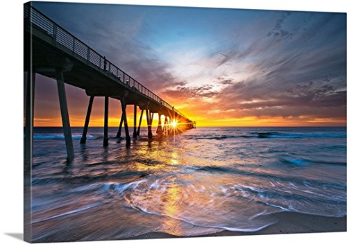 Canvas On Demand Premium Thick-Wrap Canvas Wall Art Print entitled Ocean sunset, Hermosa Beach, California - Usa Beach Manhattan California