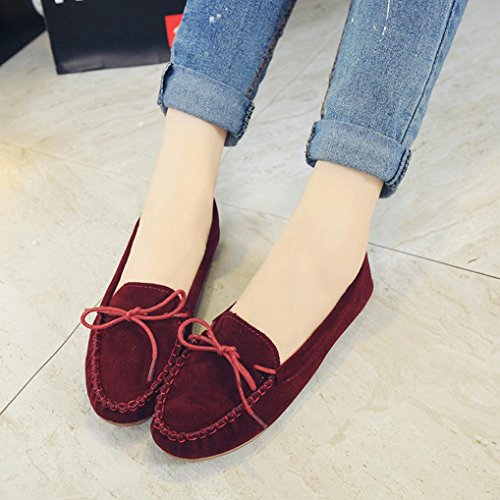 Clode® Suede Womens Toe Round Shoes Loafer Red Slip UK Bowknot Size Faux Moccasin Flats on pxpYrwqU