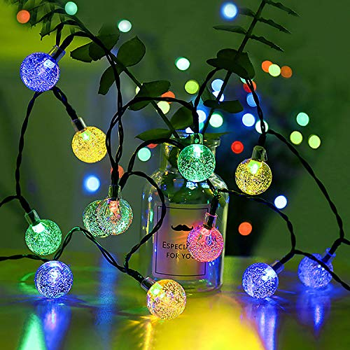 Christmas Lights, 21Ft 30 Globe Starry Bulbs String Lights, Solar Led Fairy Decorative Lights for Patio Indoor Outdoor and more