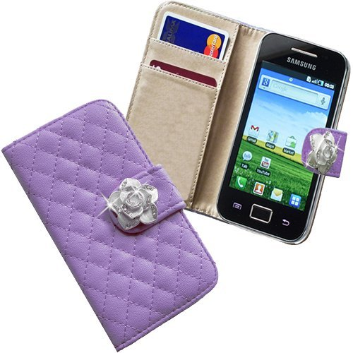 Xtra-Funky Case Compatible with Samsung Galaxy Ace 2 (i8160), Faux Leather Flip Purse Wallet Style Cover with Embedded Crystal Rose on Magnetic Closing Strap - Purple (2 Samsung Galaxy Ace I8160 Case)