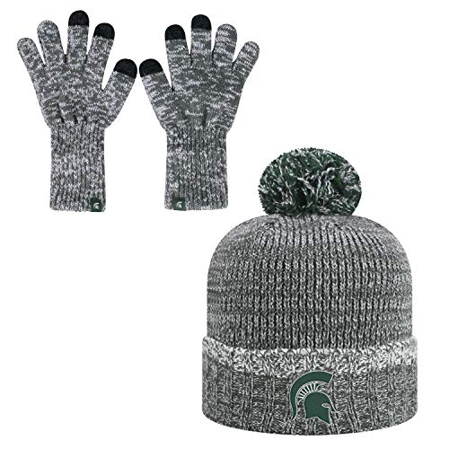 Top of the World Michigan State Spartans Official NCAA Combo Frostbite Cuffed Stocking Stretch Knit Sock Hat Cap Beanie and Gloves 559513 (Michigan State Stocking Cap)