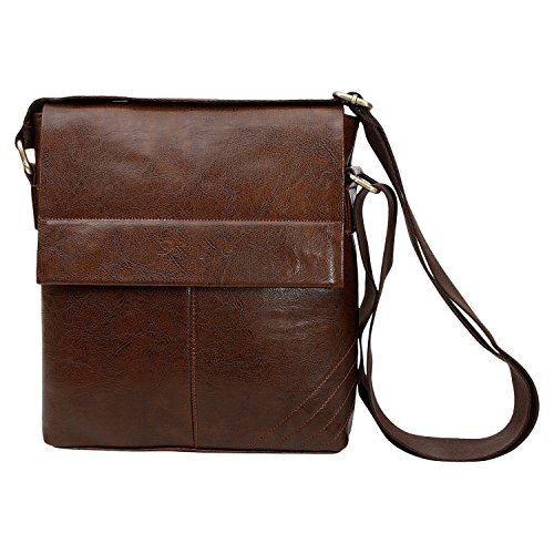 SPHINX Men's Leatherette Cross-Body Sling Bag (Dark Brown, 25 x 22 x 7 cm)