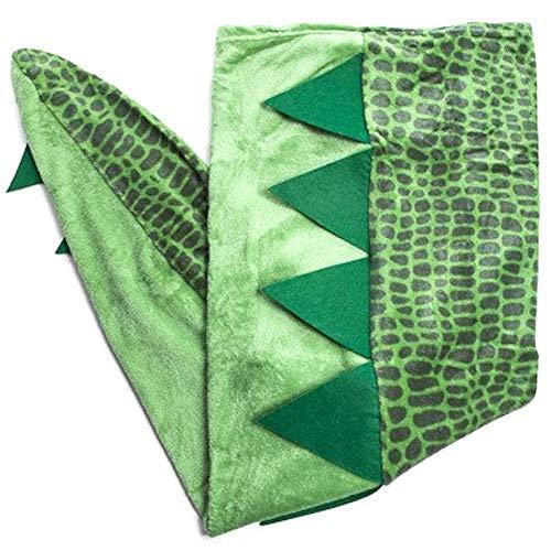 Warm & Snuggly Dino Tail Blanket Wearable Dinosaur Green 22 x 52