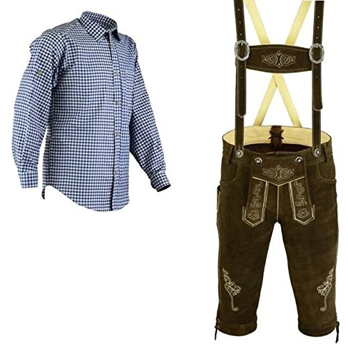 Bavarian Oktoberfest Trachten Lederhosen Bundhosen Costume Brown 4 pc Set (36) - http://coolthings.us