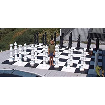 MegaChess Giant Chess Set   Black And White   Plastic   49 Inch King