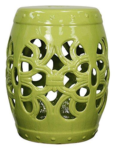 New Pacific Direct Ribbon Garden Stool,Green,Fully (Green Ceramic Stool)
