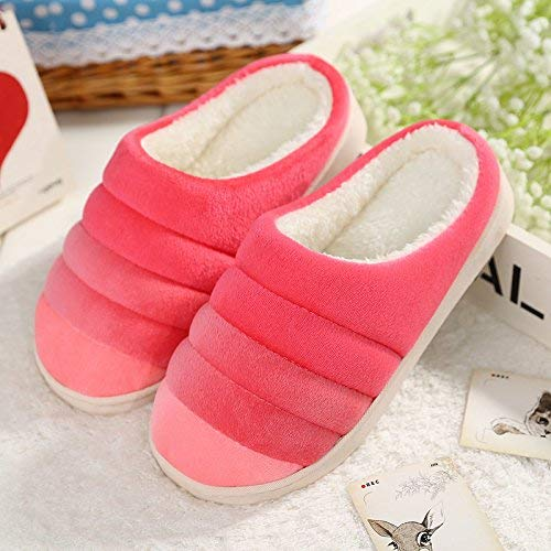 1 GouuoHi Womens Slippers Woman Home Keep Warm shoes Fall and Winter Leisure Cotton Slippers Plush Striped Slippers Small for Women