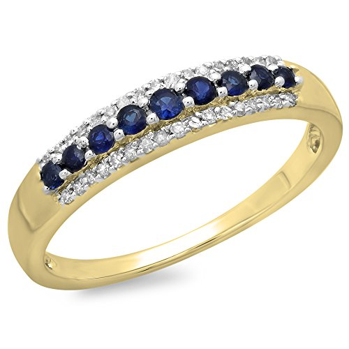 Dazzlingrock Collection 10K Round Blue Sapphire & White Diamond Ladies Wedding Band Stackable Ring, Yellow Gold, Size 7.5