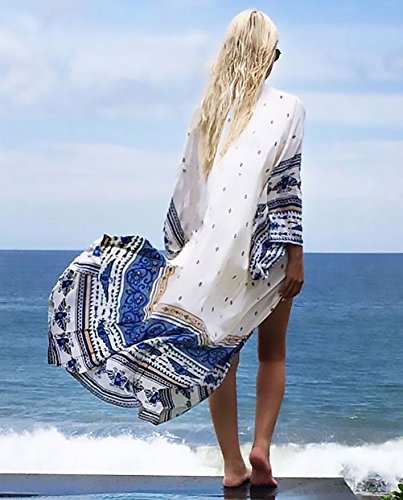 Estivo Pareo BoBoLily Elegante Cardigan Spiaggia Manica Copricostume Lungo Stampa Moda Mare Traspirante Chiffon Donna Lunga Kimono Casual Unique Sottile Mare Allentato pq0pwzSx