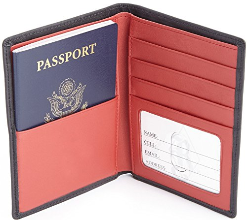 Royce Leather RFID Blocking Bifold Passport Currency Travel Wallet, Black and Red ()
