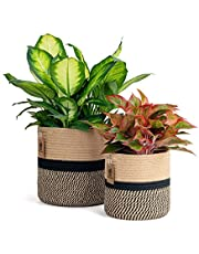 Goodpick 2 Pack Jute Rope Plant Basket Woven Basket Plant Pot Floor Indoor Planters Storage Bins for Toys Decorative Plant Cover Wicker Laundry Basket with Handles Modern Home Décor, (11x11 & 8x8)