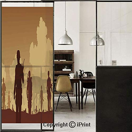 War Home Decor 3D Decorative Film Privacy Window Film No Glue,Frosted Film Decorative,Soldier Shadows with Military Costumes and Weapons Walking on Patrol Print,for Home&Office,23.6x70.8Inch Brown Cre]()