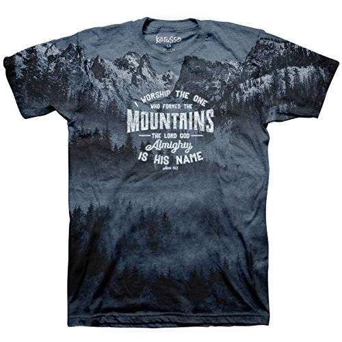 The One Who Formed The Mountains All-Over Print Christian T-Shirt Indigo Heather