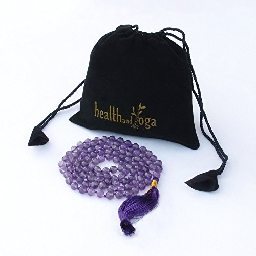 HealthAndYoga(TM) Mala Beads - Purple Amethyst (Amethyst Prayer Beads)