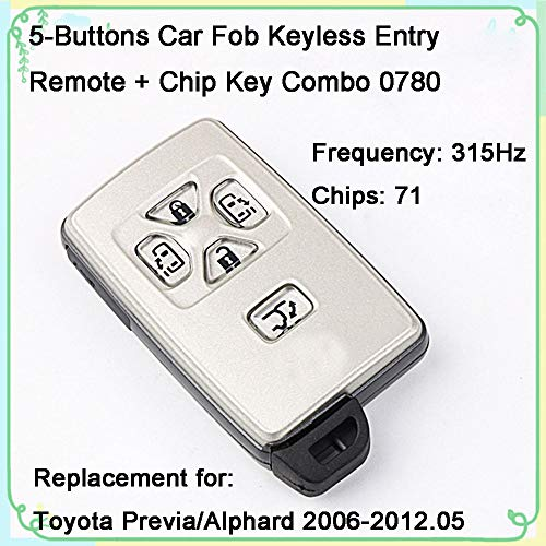 (1 Sets 5-Buttons 315Hz Car Fob Keyless Entry Intelligent Smart Card Remote Control & Uncut Blade 71 Chips Key Replacement for 2006-2012.05 Toyota Previa/Alphard)