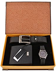 Souarts Mens Artificial Leather Quartz Analog Wrist Watch Belt Wallet Gift Set Dark Blue
