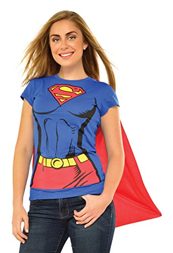Heroes And Villains Costume (DC Comics Super-Girl T-Shirt With Cape, Red, X-Large)