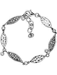 "'Icy Elements' Link Bracelet with Swarovski Crystals in Sterling Silver, 7""+ 1"" Extender"