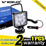 WOWLED 27W Portable LED Work Light Flood Lamp with Magnetic Base, Flood Beam Pod Light for Truck, Car, Boat, Tractor, Engineering Vehicle, Maintenance, Camping Light, Truck Magnetic Spot Light