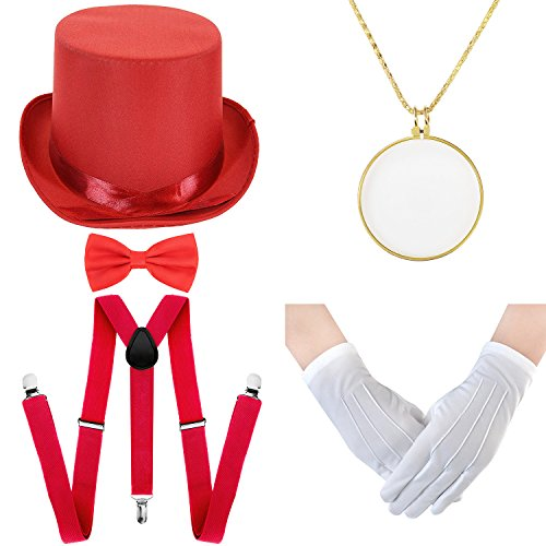 Halloween Costume Set - Felt Top Costume Hat, Y-Back Suspenders & Pre Tied Bow Tie, Necklace Optical Magnifier,Formal Tuxedo Gloves (Red) -