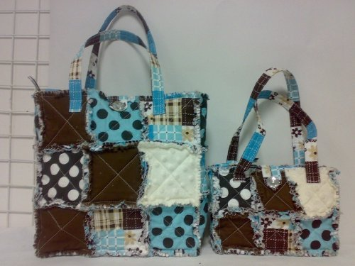 Patchwork Quilted Purse Set, 100% Cotton Quilted Purse 2pc Set Quilted Purse Set