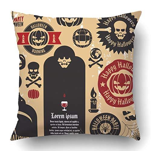 Kidmekflfr Throw Pillow Covers Black Vintage Halloween Party Labels Collection Pumpkin Death Skeleton Ghost Badge Cross Horror Polyester 18 X 18 Inch Square Hidden Zipper Decorative Pillowcase