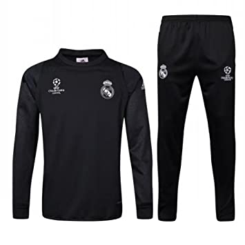 a77bfbabe Champions League Real Madrid CF Training Football Soccer Jersey TrackSuits  Sets Practice Sportwear Kits In Black: Amazon.co.uk: Sports & Outdoors