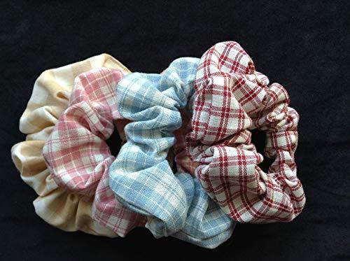 SCRUNCHIES, Set of 4 Plaid, checkered, Ponytail Holders Vintage Fabrics