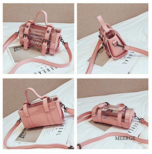 Girls Pink Women Handbags Candy bag colors for 4 AWESAMA Transparent Purses Color Clear Tote Crossbody qPxRCT
