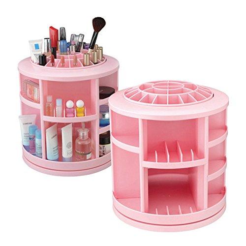 Make Up Cosmetic Jewellery Storage Organiser Box -Rotates 360 Degrees-Pink by Yanoen