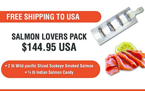 Salmon Lovers Gift Pack Basket Featuring Wild Pacific Canadian Smoked Salmon and Indian Salmon Candy Cured with Grade A Maple Syrup Gourmet With Greeting Card Xmas Gift From Jet Set Sam