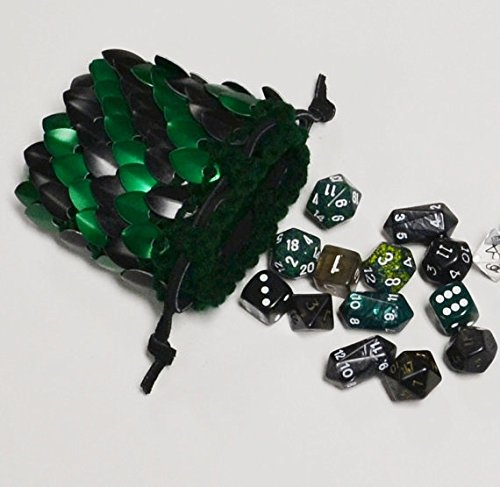 Dice Bag in knitted scale armor - Striped Forest