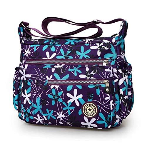 Handbag Resistant Women Crossbody for Multi bags Lightweight Bag Pockets Ladies messenger Zip Shoulder Nylon Cross Water Flower Veriya Body wX0Xr4xq