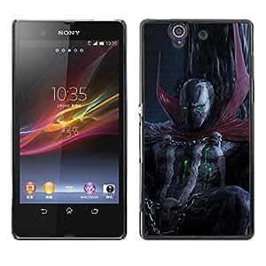 EJOY---Cubierta de la caja de protección la piel dura para el / Sony Xperia Z L36H / --Oscuridad del cráneo del demonio diablo